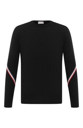 Мужской шерстяной джемпер MONCLER черного цвета, арт. F2-091-9C742-00-A9442 | Фото 1