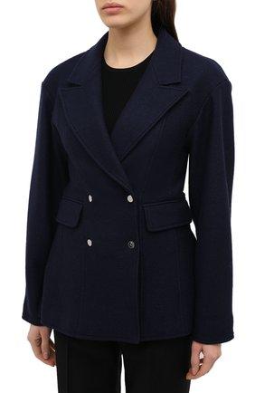 Женский шерстяной жакет TIBI темно-синего цвета, арт. P220BI8167   Фото 3 (Материал внешний: Шерсть; Рукава: Длинные; Длина (для топов): Стандартные; Случай: Формальный; 1-2-бортные: Двубортные; Женское Кросс-КТ: Жакет-одежда; Материал подклада: Купро)