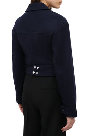 Женский шерстяной жакет TIBI темно-синего цвета, арт. P220BI8167   Фото 4 (Материал внешний: Шерсть; Рукава: Длинные; Длина (для топов): Стандартные; Случай: Формальный; 1-2-бортные: Двубортные; Женское Кросс-КТ: Жакет-одежда; Материал подклада: Купро)