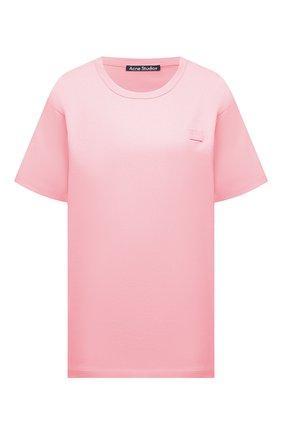 Женская хлопковая футболка ACNE STUDIOS розового цвета, арт. 25E173/W | Фото 1