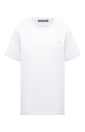 Женская хлопковая футболка ACNE STUDIOS белого цвета, арт. 25E173/W | Фото 1 (Длина (для топов): Стандартные; Материал внешний: Хлопок; Принт: Без принта; Женское Кросс-КТ: Футболка-одежда; Рукава: Короткие)