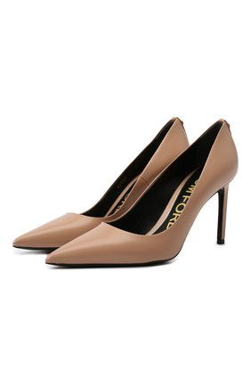 Женские кожаные туфли t-screw TOM FORD светло-бежевого цвета, арт. W2326T-LCL002 | Фото 1