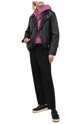 Женские кожаные кеды face ACNE STUDIOS черного цвета, арт. AD0255   Фото 2