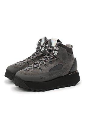 Женские комбинированные ботинки ACNE STUDIOS серого цвета, арт. AD0308 | Фото 1