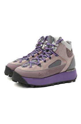 Женские комбинированные ботинки ACNE STUDIOS фиолетового цвета, арт. AD0308 | Фото 1