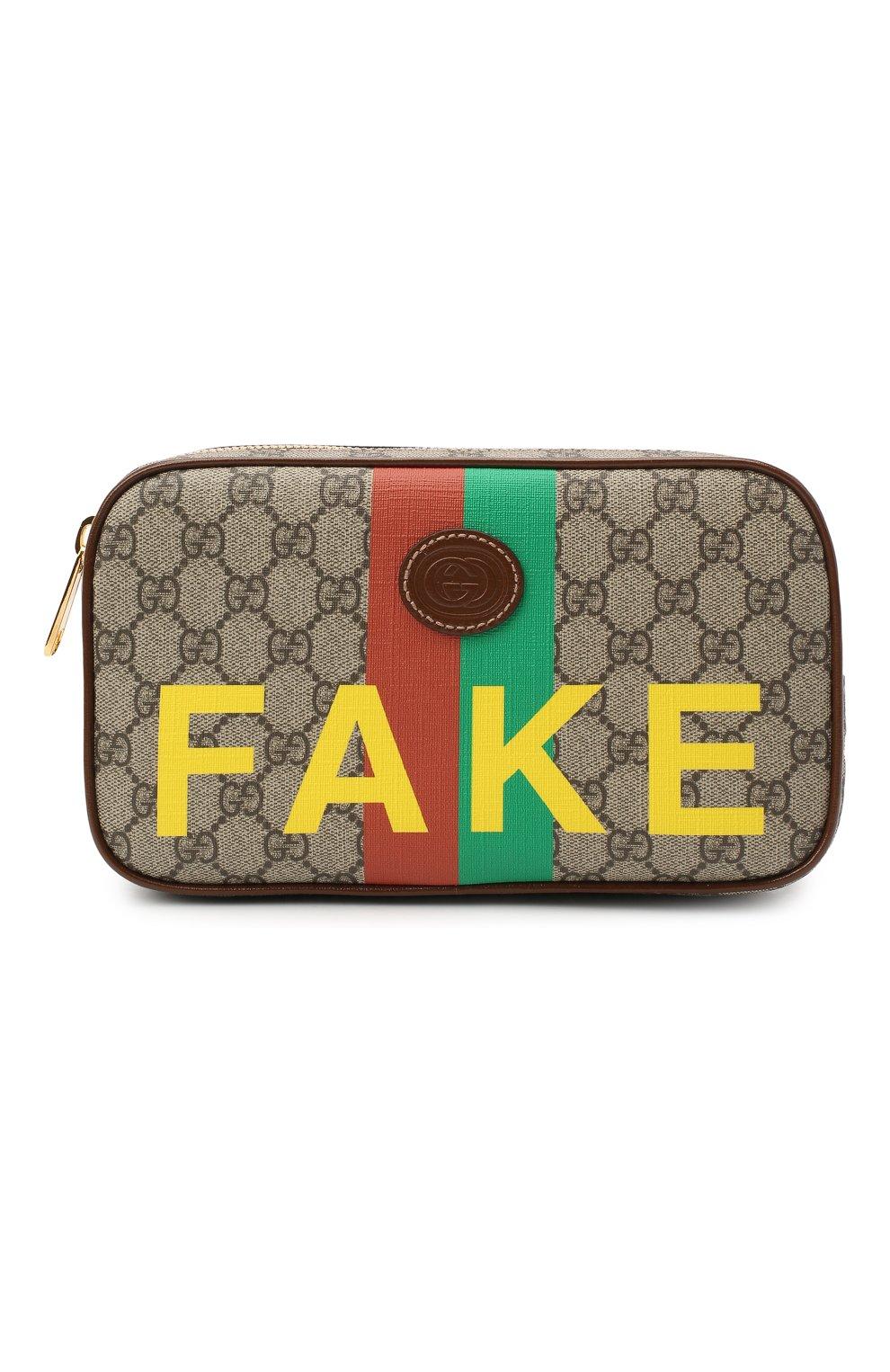 Мужская поясная сумка «fake/not» GUCCI коричневого цвета, арт. 602695/2GCAG   Фото 1 (Ремень/цепочка: На ремешке; Материал: Текстиль, Экокожа)