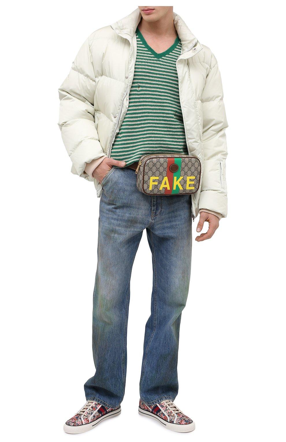 Мужская поясная сумка «fake/not» GUCCI коричневого цвета, арт. 602695/2GCAG   Фото 2 (Ремень/цепочка: На ремешке; Материал: Текстиль, Экокожа)