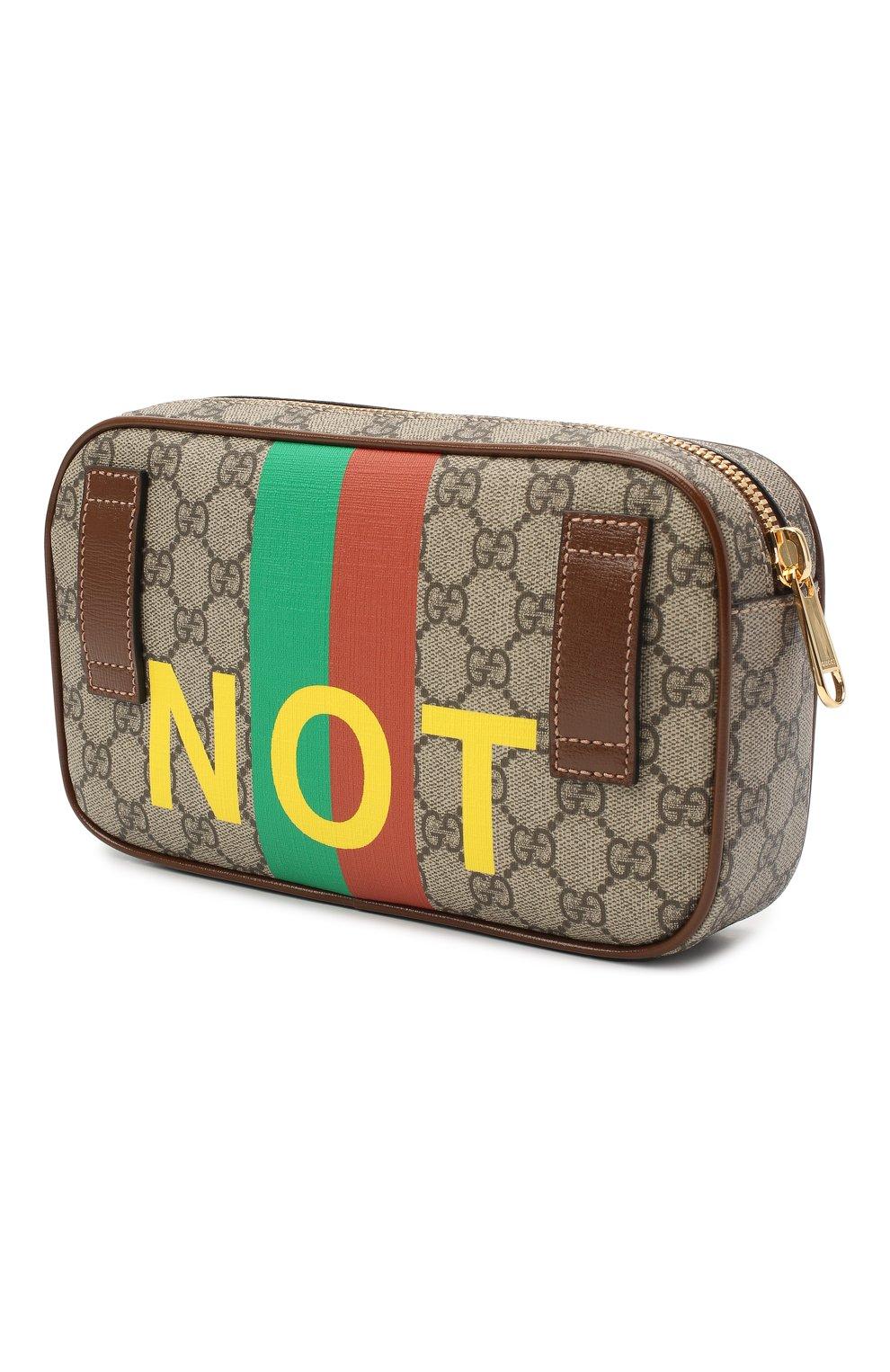 Мужская поясная сумка «fake/not» GUCCI коричневого цвета, арт. 602695/2GCAG   Фото 3 (Ремень/цепочка: На ремешке; Материал: Текстиль, Экокожа)