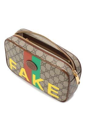 Мужская поясная сумка «fake/not» GUCCI коричневого цвета, арт. 602695/2GCAG   Фото 4 (Ремень/цепочка: На ремешке; Материал: Текстиль, Экокожа)