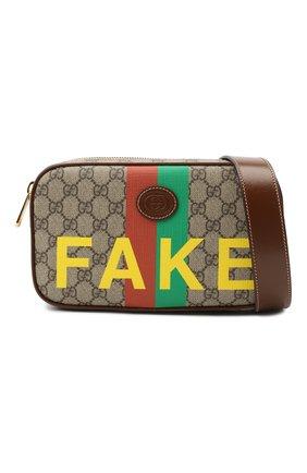 Мужская поясная сумка «fake/not» GUCCI коричневого цвета, арт. 602695/2GCAG   Фото 5 (Ремень/цепочка: На ремешке; Материал: Текстиль, Экокожа)