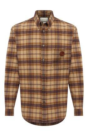 Мужская хлопковая рубашка GUCCI коричневого цвета, арт. 629755/Z8AK2 | Фото 1