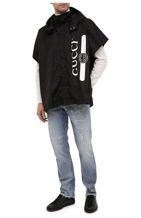 Мужская накидка GUCCI черного цвета, арт. 626382/4G355 | Фото 2 (Материал: Синтетический материал, Текстиль; Длина (верхняя одежда): Короткие; Рукава: Короткие; Мужское Кросс-КТ: Верхняя одежда; Стили: Кэжуэл; Материал внешний: Синтетический материал; Кросс-КТ: дождевики)