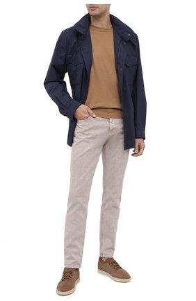Мужские кожаные кеды soho walk LORO PIANA бежевого цвета, арт. FAL2899 | Фото 2