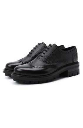 Мужские кожаные оксфорды DSQUARED2 черного цвета, арт. LUM0054 14410001 | Фото 1