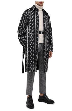 Мужской шерстяное пальто VALENTINO черно-белого цвета, арт. UV0CAC386QQ   Фото 2
