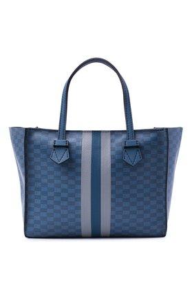 Мужская кожаная сумка-шопер MOREAU синего цвета, арт. SBREMZIIVTTR3BC | Фото 1