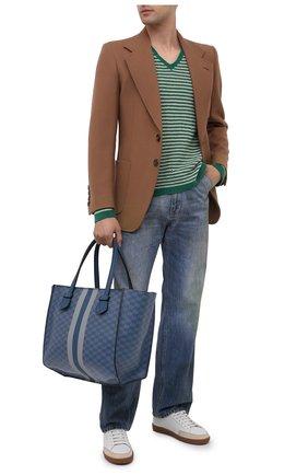 Мужская кожаная сумка-шопер MOREAU синего цвета, арт. SBREMZIIVTTR3BC | Фото 2