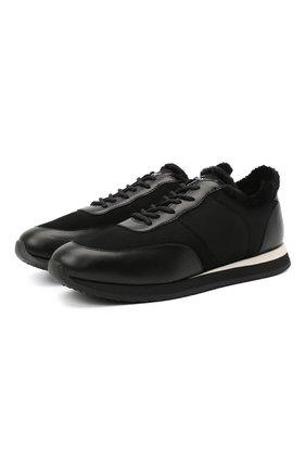 Мужские комбинированные кроссовки jimi running GIUSEPPE ZANOTTI DESIGN черного цвета, арт. IU00048/001 | Фото 1 (Подошва: Плоская; Материал утеплителя: Натуральный мех; Стили: Классический)