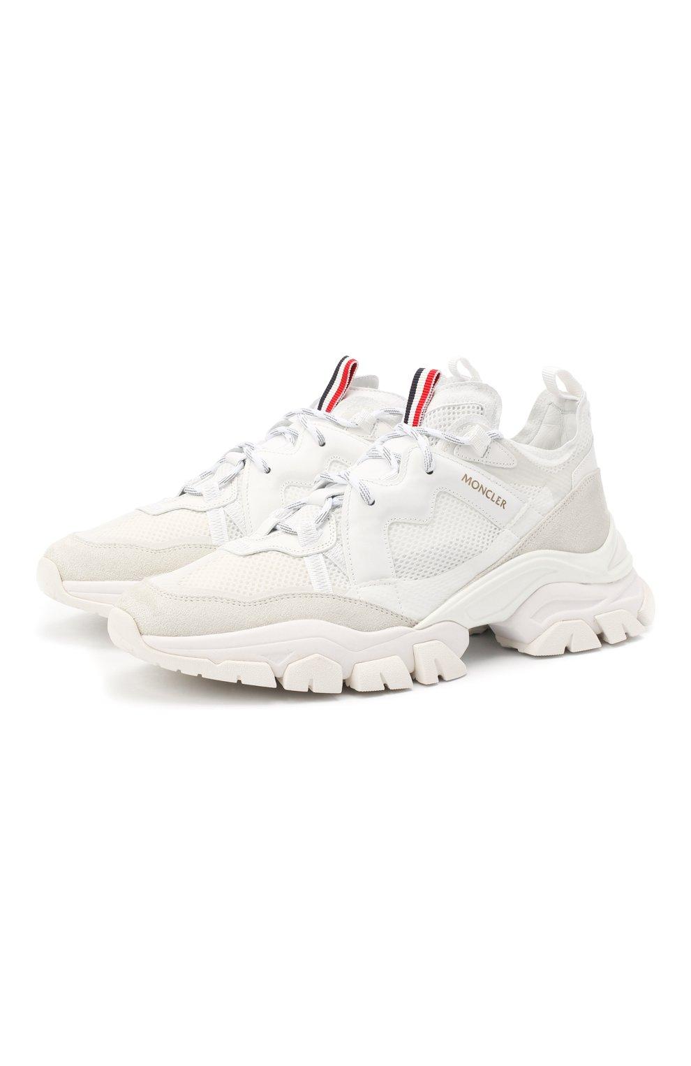 Мужские комбинированные кроссовки leave no trace MONCLER белого цвета, арт. F2-09A-4M703-40-02SH4 | Фото 1 (Материал внутренний: Натуральная кожа; Стили: Гранж; Подошва: Массивная)