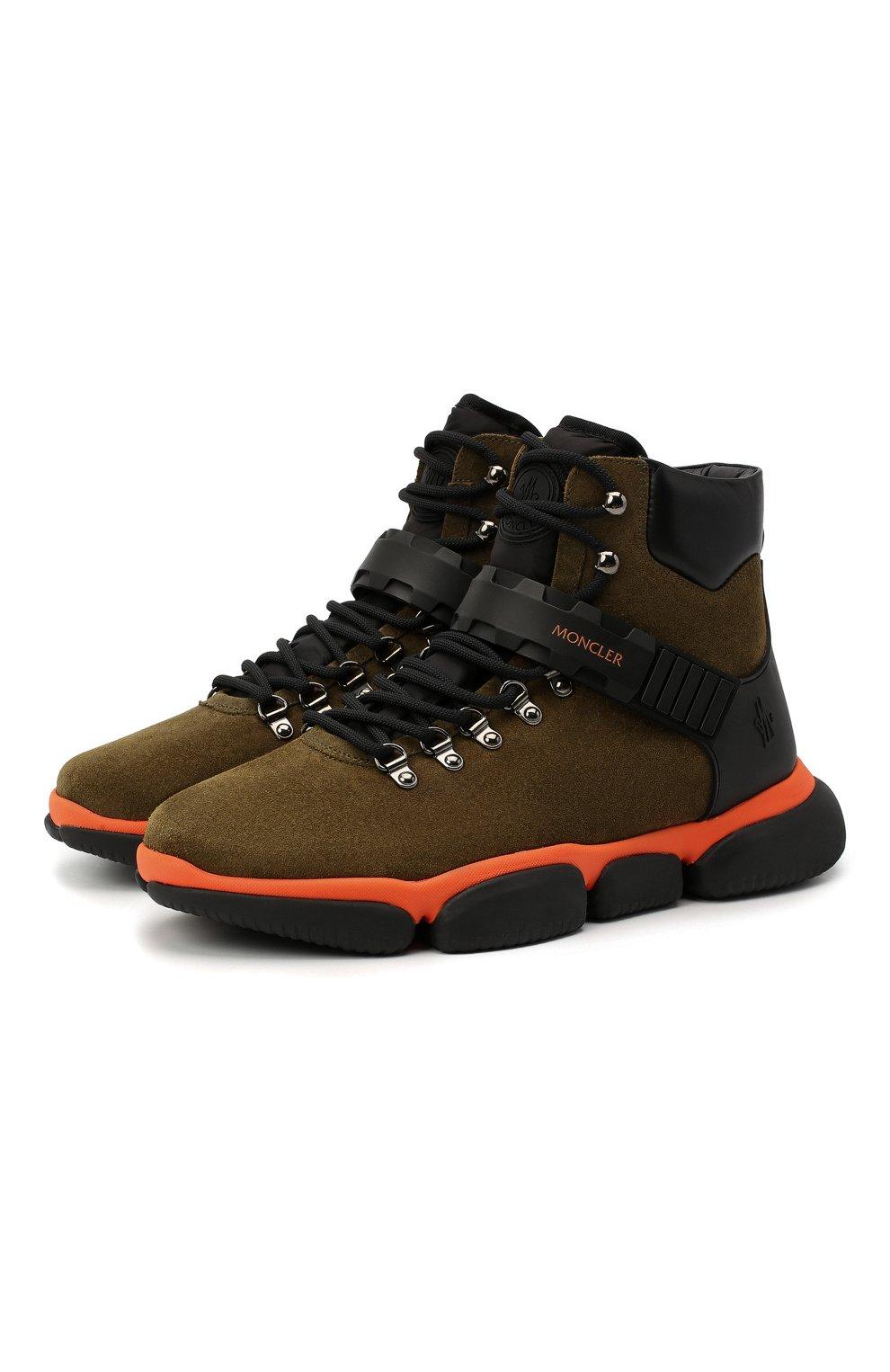 Мужские замшевые ботинки bubble boots MONCLER хаки цвета, арт. F2-09A-4M500-00-02SGM | Фото 1 (Мужское Кросс-КТ: Хайкеры-обувь, Ботинки-обувь; Материал внутренний: Натуральная кожа; Подошва: Массивная)