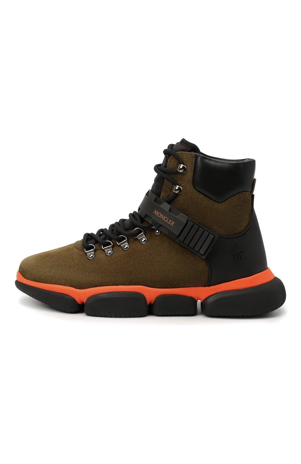 Мужские замшевые ботинки bubble boots MONCLER хаки цвета, арт. F2-09A-4M500-00-02SGM | Фото 3 (Мужское Кросс-КТ: Хайкеры-обувь, Ботинки-обувь; Материал внутренний: Натуральная кожа; Подошва: Массивная)