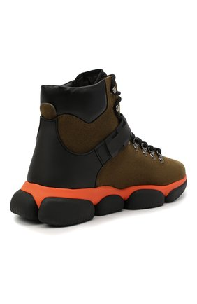 Мужские замшевые ботинки bubble boots MONCLER хаки цвета, арт. F2-09A-4M500-00-02SGM | Фото 4 (Мужское Кросс-КТ: Хайкеры-обувь, Ботинки-обувь; Материал внутренний: Натуральная кожа; Подошва: Массивная)