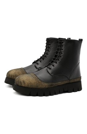 Мужские кожаные ботинки ROCCO P. черного цвета, арт. 11305/ANTIK | Фото 1