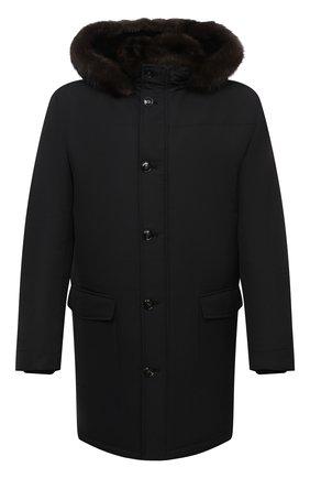 Мужской пальто с меховой подкладкой KITON черного цвета, арт. UW0814BV03T58 | Фото 1