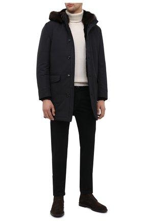 Мужской пальто с меховой подкладкой KITON черного цвета, арт. UW0814BV03T58 | Фото 2