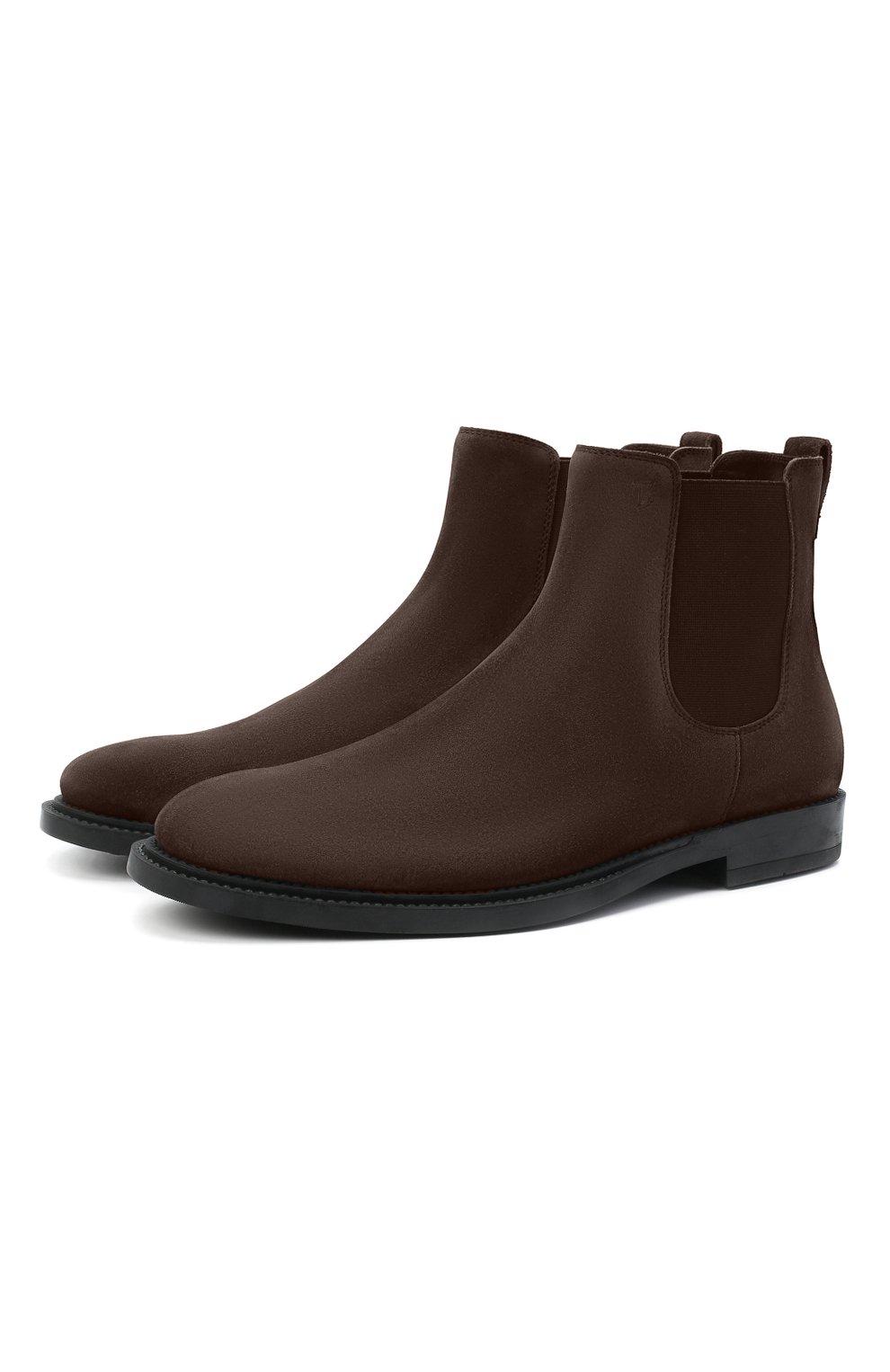 Мужские замшевые челси TOD'S темно-коричневого цвета, арт. XXM62C00P20RE0 | Фото 1 (Материал внутренний: Натуральная кожа; Подошва: Плоская; Мужское Кросс-КТ: Сапоги-обувь, Челси-обувь; Материал внешний: Замша)