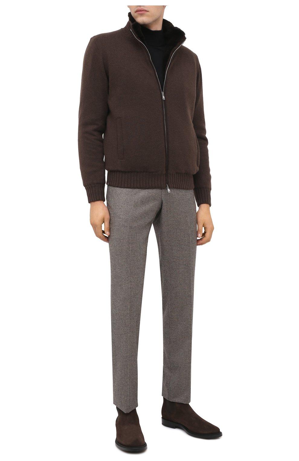 Мужские замшевые челси TOD'S темно-коричневого цвета, арт. XXM62C00P20RE0 | Фото 2 (Материал внутренний: Натуральная кожа; Подошва: Плоская; Мужское Кросс-КТ: Сапоги-обувь, Челси-обувь; Материал внешний: Замша)