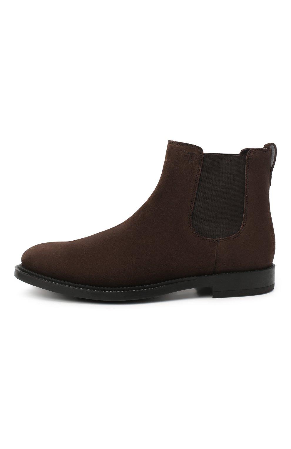Мужские замшевые челси TOD'S темно-коричневого цвета, арт. XXM62C00P20RE0 | Фото 3 (Материал внутренний: Натуральная кожа; Подошва: Плоская; Мужское Кросс-КТ: Сапоги-обувь, Челси-обувь; Материал внешний: Замша)