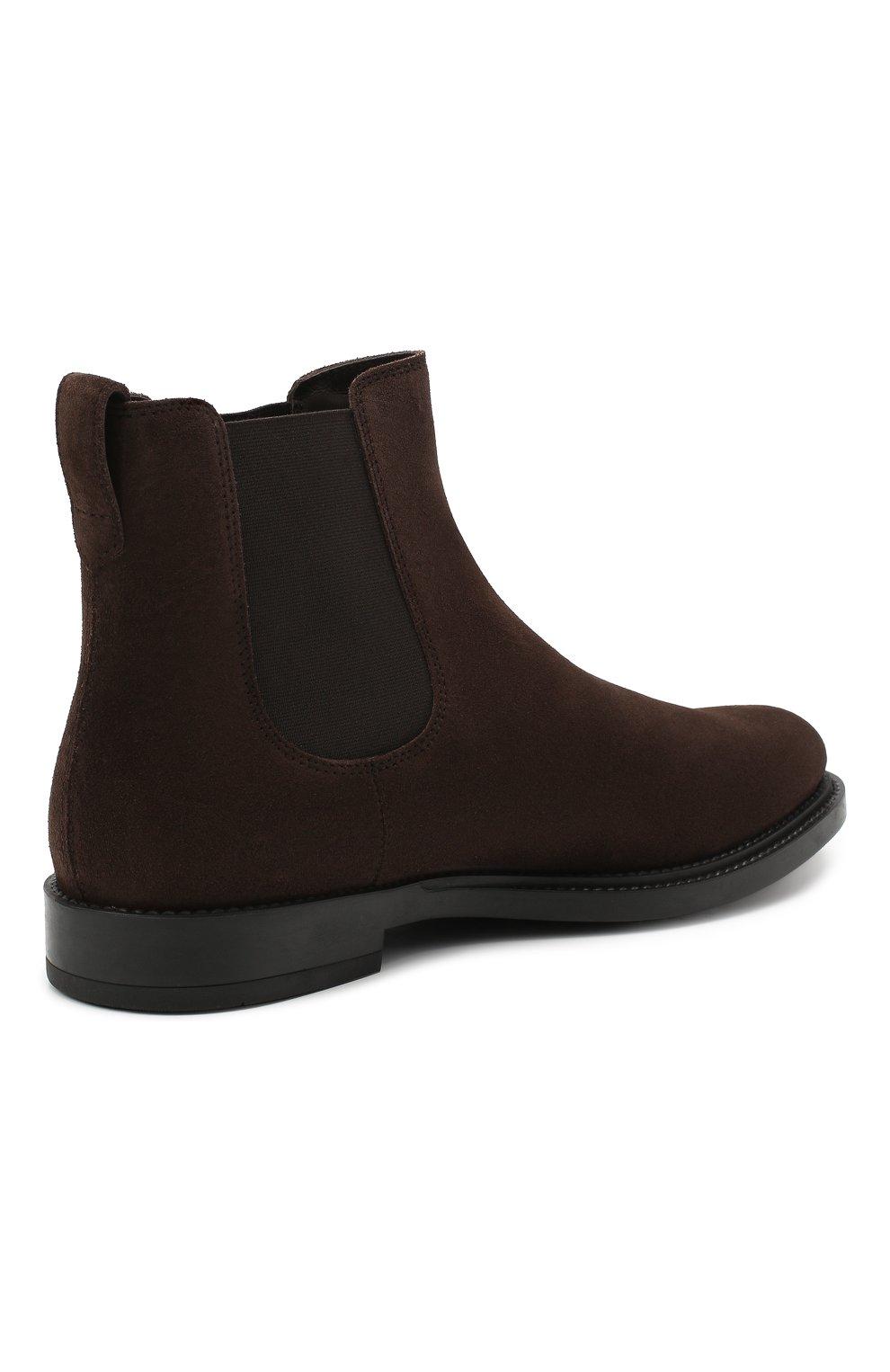 Мужские замшевые челси TOD'S темно-коричневого цвета, арт. XXM62C00P20RE0 | Фото 4 (Материал внутренний: Натуральная кожа; Подошва: Плоская; Мужское Кросс-КТ: Сапоги-обувь, Челси-обувь; Материал внешний: Замша)