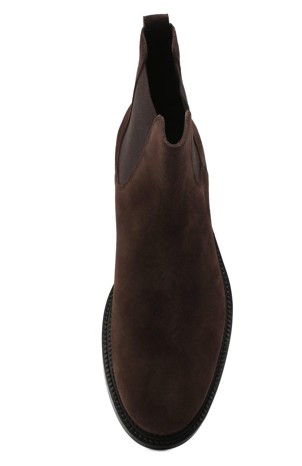 Мужские замшевые челси TOD'S темно-коричневого цвета, арт. XXM62C00P20RE0 | Фото 5 (Материал внутренний: Натуральная кожа; Подошва: Плоская; Мужское Кросс-КТ: Сапоги-обувь, Челси-обувь; Материал внешний: Замша)