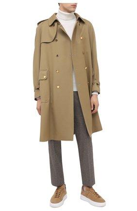 Мужские кожаные кеды TOD'S бежевого цвета, арт. XXM79B0DK216RN | Фото 2