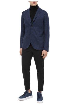 Мужские кожаные кеды TOD'S синего цвета, арт. XXM79B0DK216RN | Фото 2