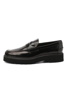 Мужские кожаные пенни-лоферы TOD'S черного цвета, арт. XXM80C00640AKT | Фото 3