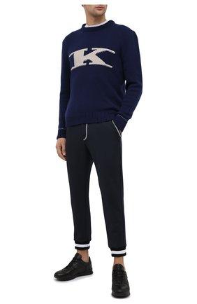 Мужские джоггеры KNT темно-синего цвета, арт. UPKN002J02T34 | Фото 2 (Материал внешний: Хлопок, Лиоцелл; Силуэт М (брюки): Джоггеры; Длина (брюки, джинсы): Стандартные; Стили: Спорт-шик)