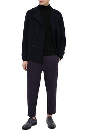 Мужские брюки из хлопка и шерсти HARRIS WHARF LONDON синего цвета, арт. C3006MER | Фото 2