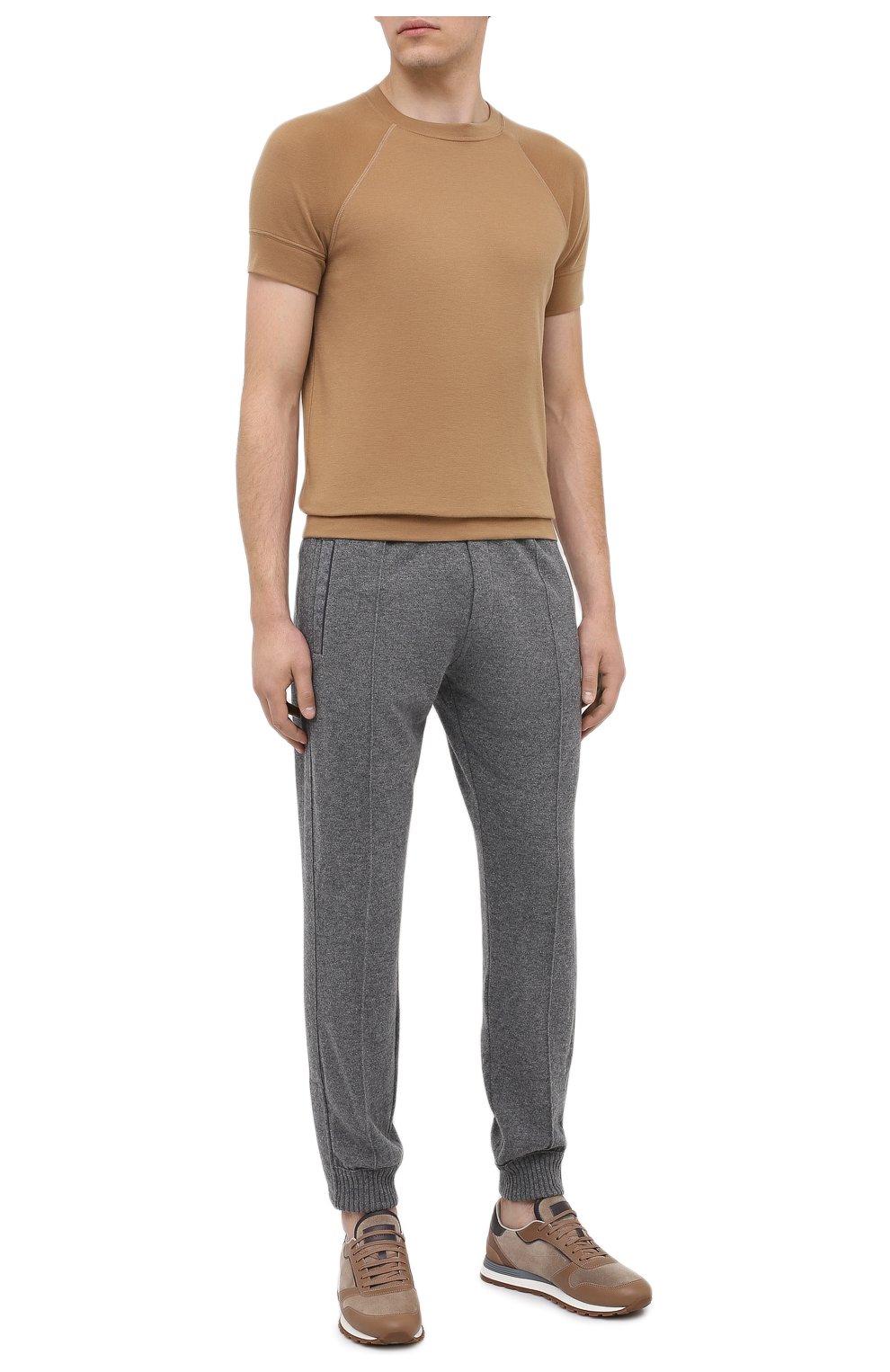 Мужские кашемировые джоггеры FIORONI серого цвета, арт. MKF21411F1   Фото 2 (Мужское Кросс-КТ: Брюки-трикотаж; Материал внешний: Шерсть, Кашемир; Длина (брюки, джинсы): Стандартные; Стили: Спорт-шик; Силуэт М (брюки): Джоггеры)
