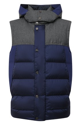 Мужской утепленный жилет Z ZEGNA синего цвета, арт. VV085/ZZ081 | Фото 1 (Материал подклада: Синтетический материал; Стили: Кэжуэл; Длина (верхняя одежда): Короткие; Материал внешний: Синтетический материал; Мужское Кросс-КТ: Верхняя одежда; Кросс-КТ: Пуховик, Куртка)