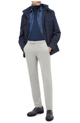 Мужские брюки из хлопка и кашемира ERMENEGILDO ZEGNA светло-серого цвета, арт. 865F09/77TB12 | Фото 2