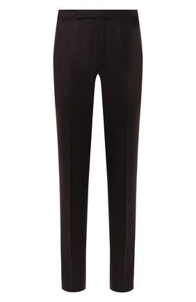 Мужские шерстяные брюки ERMENEGILDO ZEGNA темно-коричневого цвета, арт. 830F21/75F812 | Фото 1 (Стили: Кэжуэл, Классический; Материал подклада: Вискоза; Длина (брюки, джинсы): Стандартные; Случай: Формальный; Материал внешний: Шерсть)