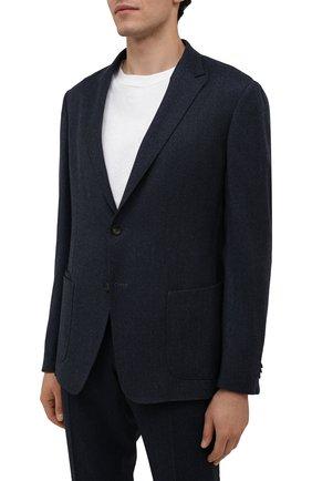 Мужской шерстяной костюм Z ZEGNA синего цвета, арт. 824715/2X7YGX   Фото 2 (Рукава: Длинные; Костюмы М: Однобортный; Материал внешний: Шерсть; Стили: Классический)