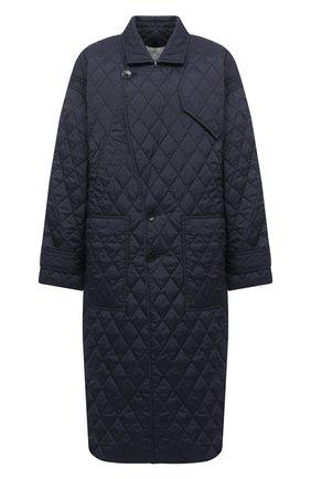 Женское пальто TIBI темно-синего цвета, арт. P220QU9095 | Фото 1 (Рукава: Длинные; Материал внешний: Синтетический материал; Материал подклада: Синтетический материал; Длина (верхняя одежда): Длинные; 1-2-бортные: Однобортные; Стили: Кэжуэл)