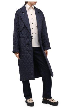 Женское пальто TIBI темно-синего цвета, арт. P220QU9095 | Фото 2 (Рукава: Длинные; Материал внешний: Синтетический материал; Материал подклада: Синтетический материал; Длина (верхняя одежда): Длинные; 1-2-бортные: Однобортные; Стили: Кэжуэл)