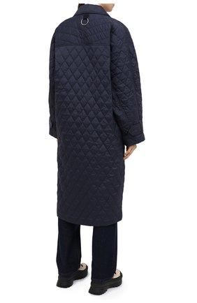 Женское пальто TIBI темно-синего цвета, арт. P220QU9095 | Фото 4 (Рукава: Длинные; Материал внешний: Синтетический материал; Материал подклада: Синтетический материал; Длина (верхняя одежда): Длинные; 1-2-бортные: Однобортные; Стили: Кэжуэл)
