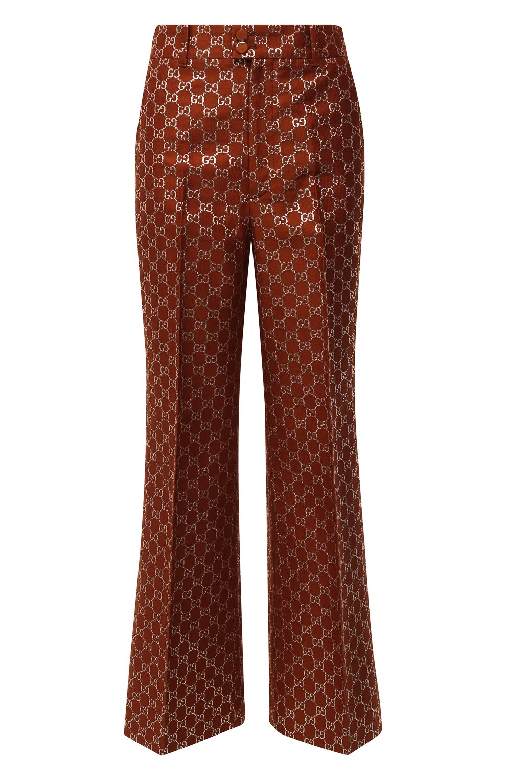 Женские брюки из шерсти и шелка GUCCI коричневого цвета, арт. 627877/ZAD7L | Фото 1