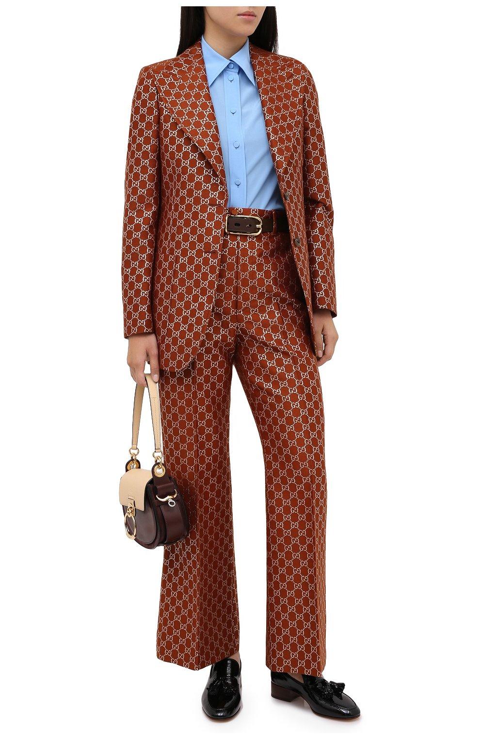Женские брюки из шерсти и шелка GUCCI коричневого цвета, арт. 627877/ZAD7L | Фото 2