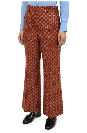 Женские брюки из шерсти и шелка GUCCI коричневого цвета, арт. 627877/ZAD7L | Фото 3